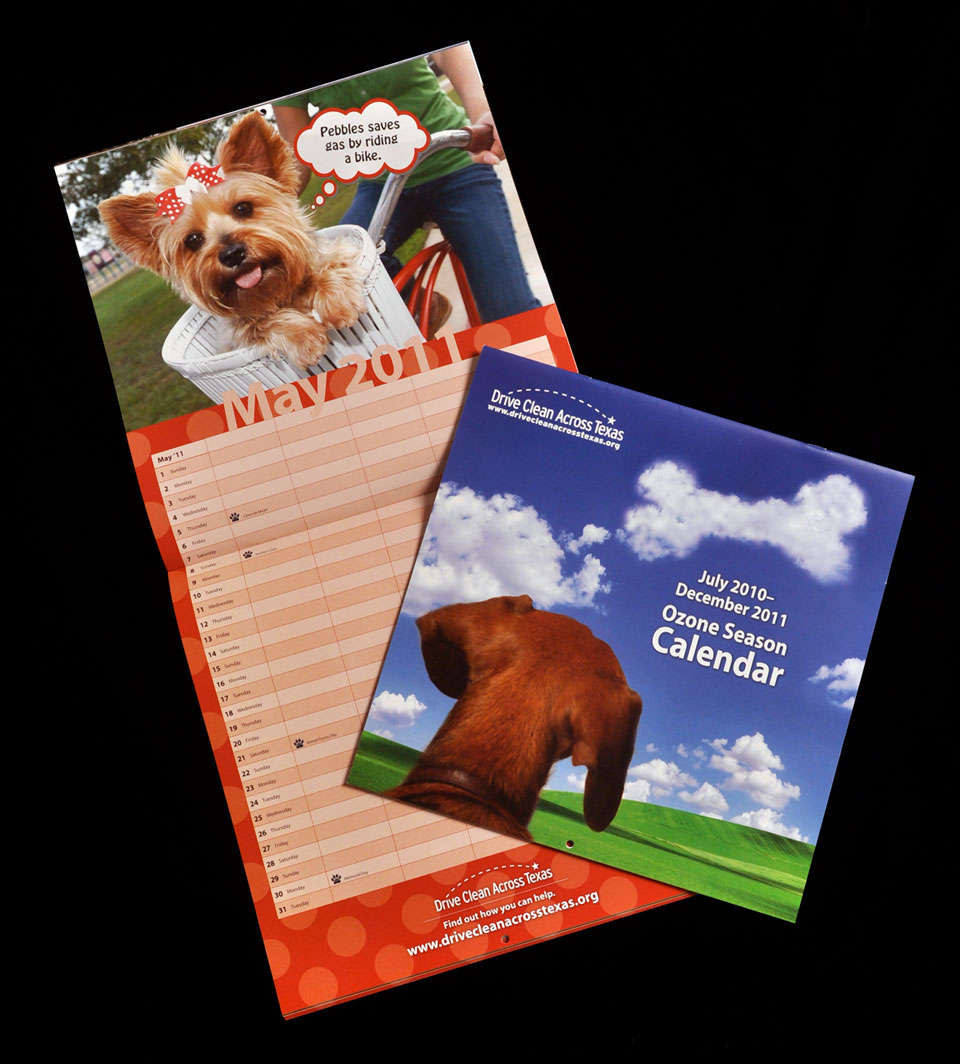 cover and spread of pictorial calendar featuring dogs and clean air activities